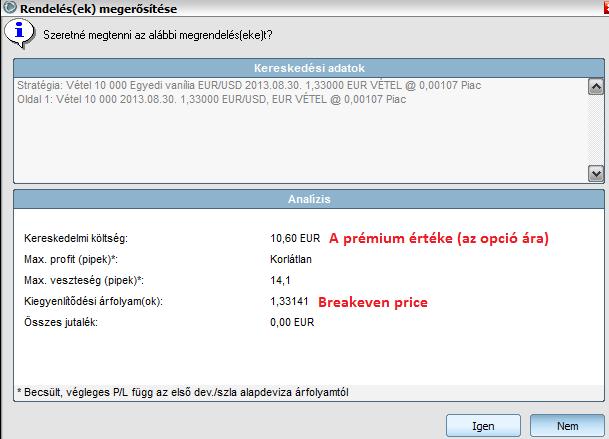 az opciós ár az opciós prémium