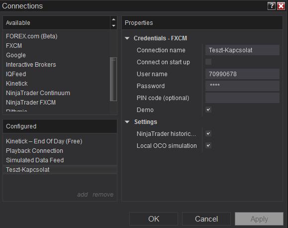 Ninjatrader beállítások: Liszenszkulcs, és Adatszolgáltatás.