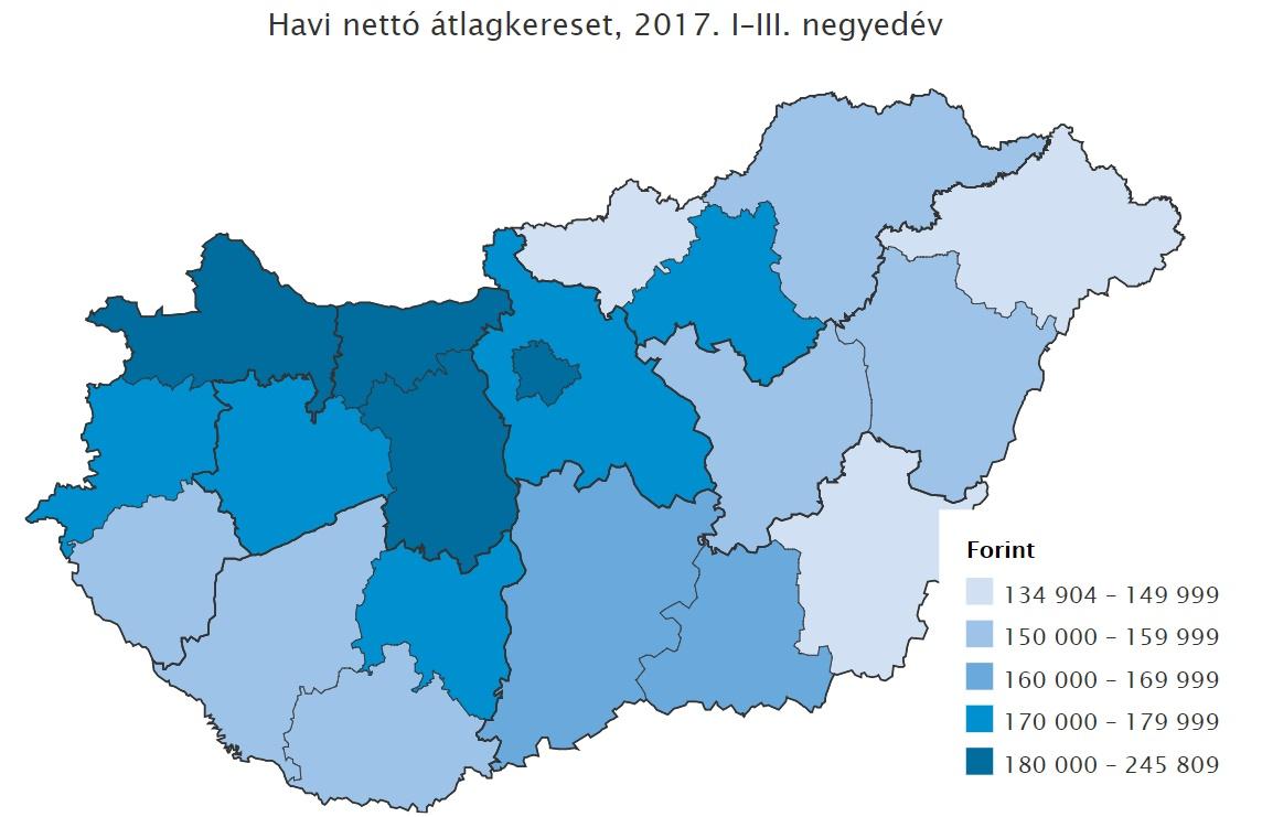 Térképen mutatjuk a magyar valóságot: őrült különbségek vannak a fizetések között