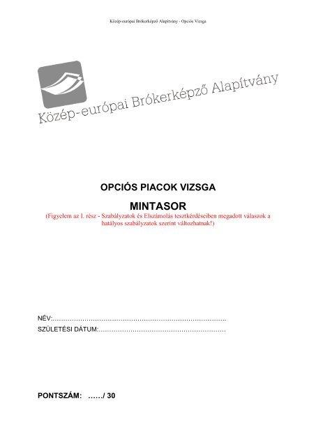 Bevezetés az opciók világába Opciók a mindennapokban - PDF Ingyenes letöltés